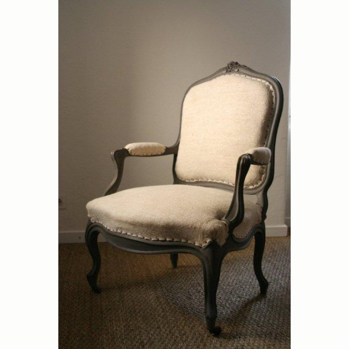 French Antiques Pair Of Armchair, Louis XV Style In Hemp ...
