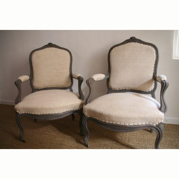 Merveilleux ... French Antiques Pair Of Armchair, Louis XV Style In Hemp